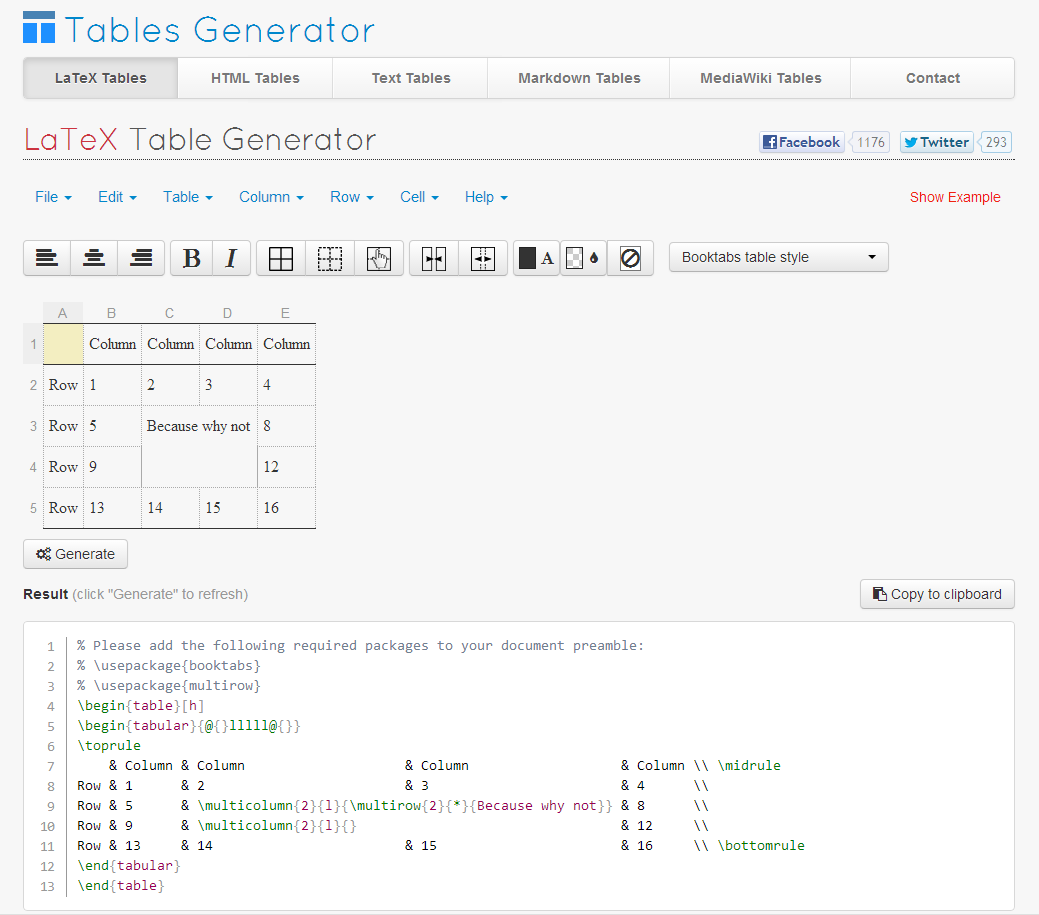 Screen shoti of Tables Generator