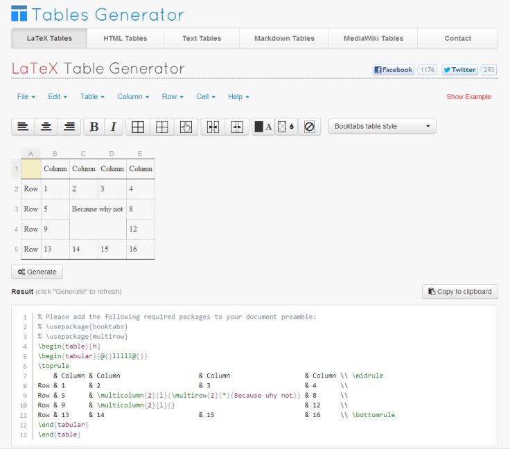 Screen shoti of Tables Generator